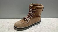 Женские зимние высокие ботинки на шнурках цвет светло-коричневый