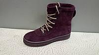 Женские зимние высокие ботинки на шнурках цвет марсала