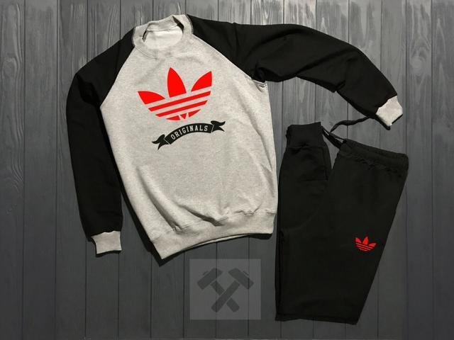 Спортивный костюм Adidas Originals черно-серого цвета с красным логотипом