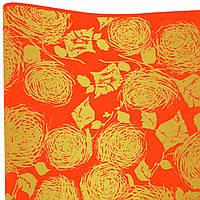 Бумага флористическая Розы золотые на красном