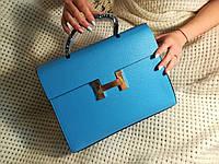 Вместительная женская сумка  высокого качества голубая