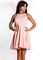 Персиковое платье коктейль с американской проймой