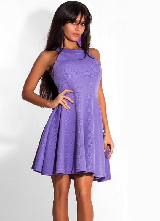 6fbbcf15311f2f2 Сиреневое Платье Коктейль с Американской Проймой — в Категории ...
