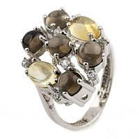 Серебряное кольцо с натуральным раухтопазом (дымчатый кварц) и цитрином