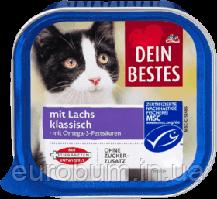 Dein Bestes Nassfutter mit Lachs Паштет для кошек c лососем 100 г (Германия)