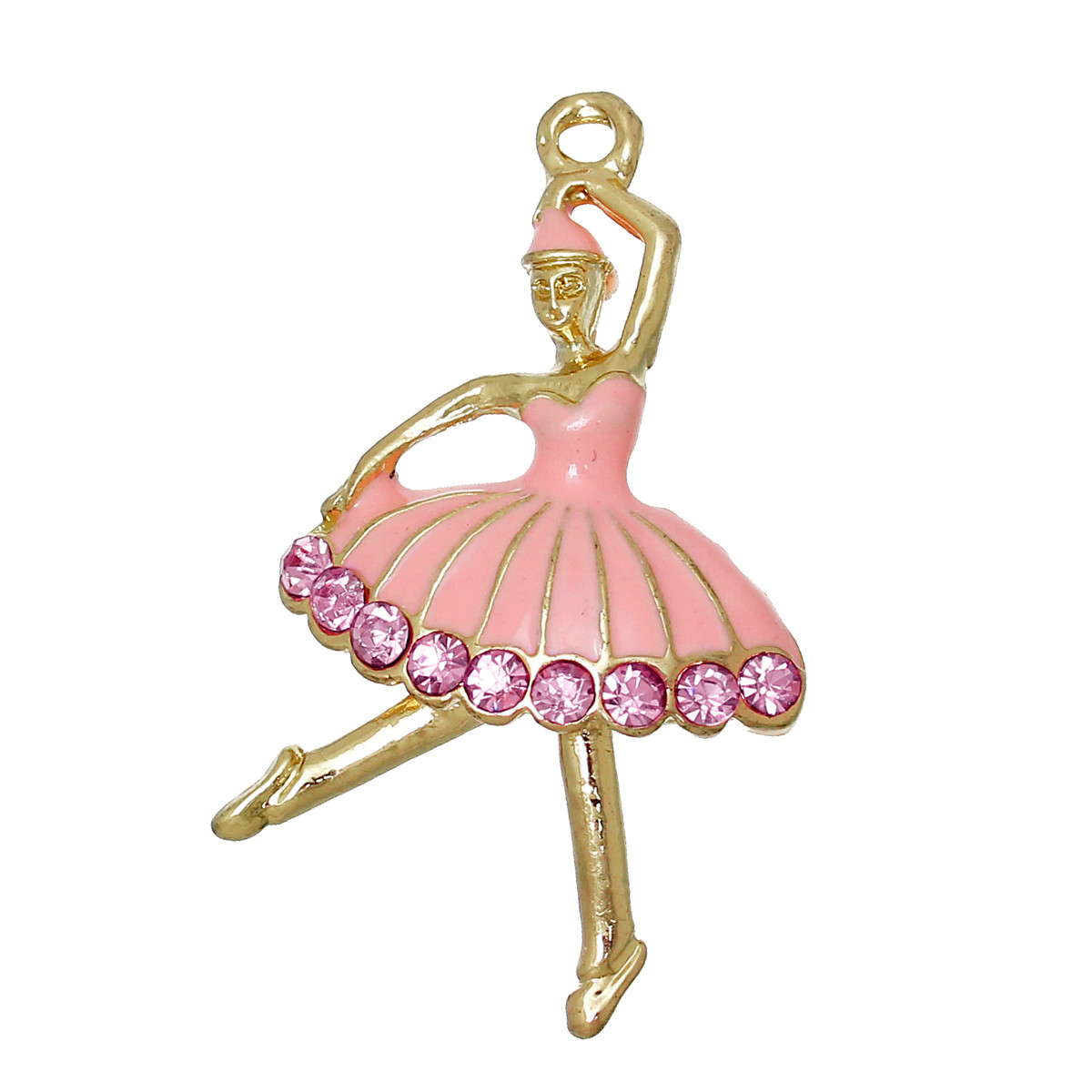 """Подвеска """" Балет """", """" Танец девушки """", Розово-золотой с эмалью, 37 мм x 22 мм"""