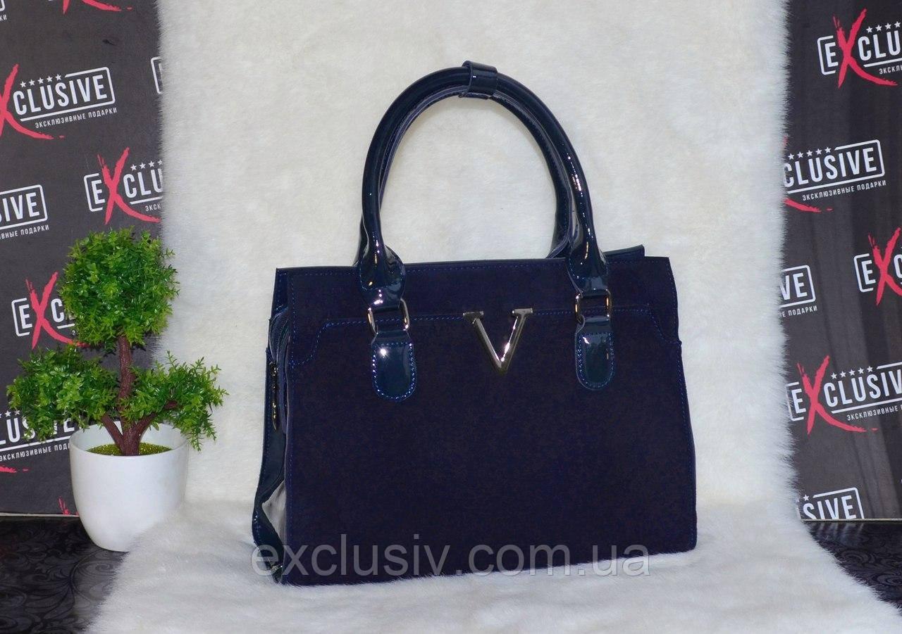 Женская сумка из натуральной лаковой кожи и натуральной замши. - Магазин