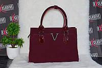 Бордовая сумка из натуральной лаковой кожи и натуральной замши.