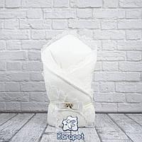 """Шикарные зимние конверты для новорожденных """"Шарлота"""" на выписку вязанные осень"""