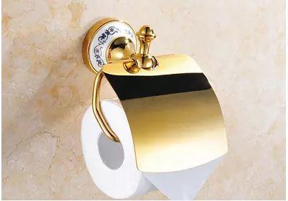 Настенный держатель туалетной бумаги золото с крышкой 0461