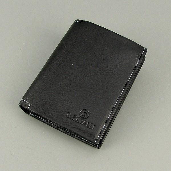 Кошелек мужской кожаный черный паспорт B. Cavalli 456