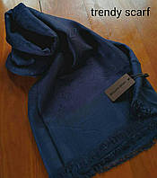 Платок Louis Vuitton бренд Луи Виттон темно синий цвет monogram реплика шерсть шелк 140*150 см