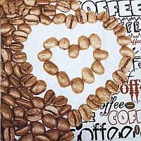 Вафельная ткань с кофе и сердечками из зёрен, сюжет 64х50 см
