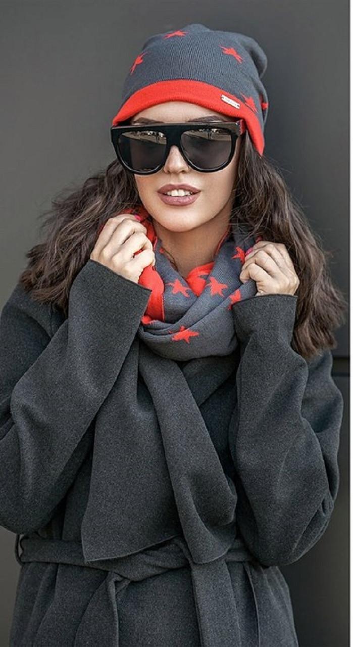 Комплект шапка и шарф хомут №184 в расцветках