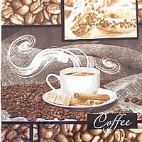 Вафельная ткань с кофе и кофейными зёрнами, сюжет 64х50 см