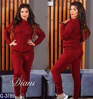 Теплый модный спортивный костюм из итальянской пряжи батал цвет бордо. Арт-14162