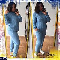 Теплый модный спортивный костюм из итальянской пряжи батал цвет голубой. Арт-14162