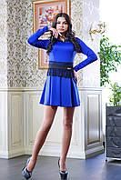 Платье с гипюровым поясом МИШЕЛЬ синее