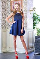 Платье с завышенной талией ЛОРАН темно-синее