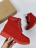Женские ботинки Timberland 6 inch красные (тимберленд ботинки)