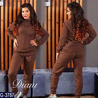 Теплый модный спортивный костюм из итальянской пряжи батал  цвет шоколад. Арт-14162