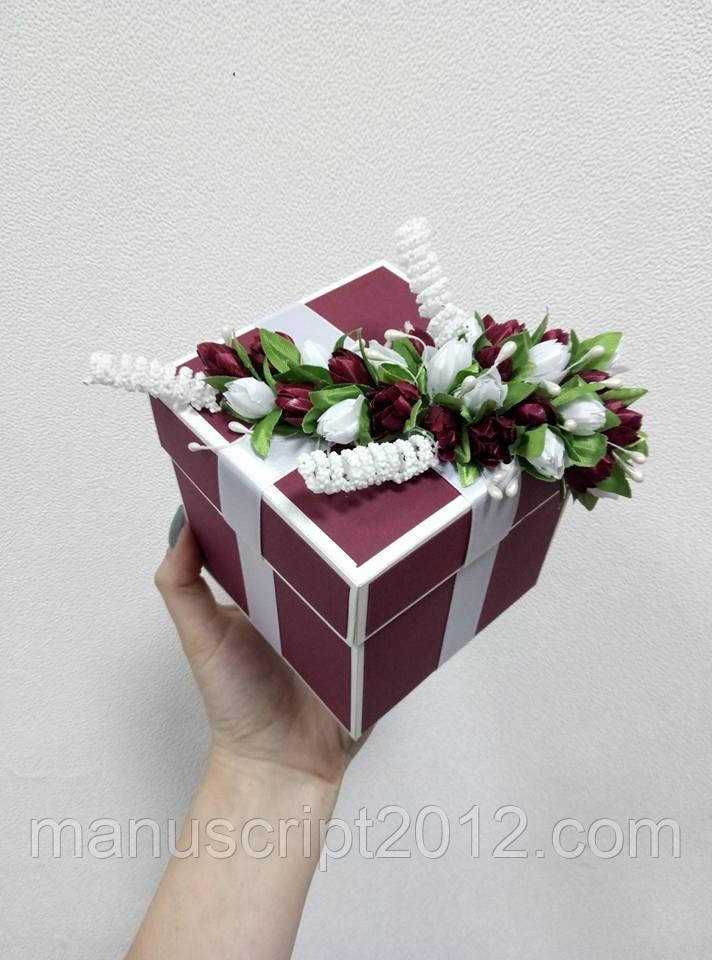 "Коробочка для весільного подарунку/грошей 80*80*80 мм ""МАРСАЛ"""