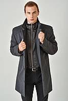 Длинное мужское пальто из кашемира утепленное пристежной манишкой 4024/2