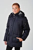 Зимняя теплая длинная куртка с мехом на мальчика 4016