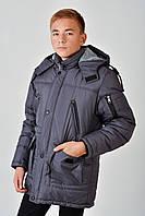 Зимняя теплая длинная куртка с мехом на мальчика 4016/1