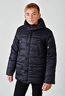 Зимняя теплая длинная куртка с мехом на мальчика 4017