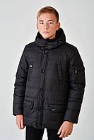 Зимняя теплая длинная куртка с мехом на мальчика 4017/1