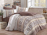Комплект постельного белья  Hobby поплин размер евро Carla коричневый