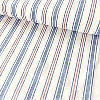 Лён полотенечный с синей и красной полоской, ширина 50 см, фото 1