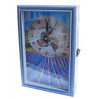 "Ключница с часами ""Лаванда"" массив дерева 30х20х6 см (30399A)"