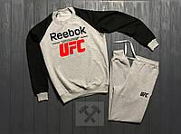Зимний мужской спортивный костюм Reebok UFC черно-серого цвета, фото 1