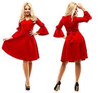 Красивое нарядное женское расклешенное платье с поясом сдлинным рукавом +цвета