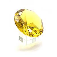 Кристалл хрустальный на подставке желтый 10 см (25657)