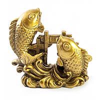 """Рыбы пара каменная крошка """"бронза"""" 8х8х3 см (30772)"""