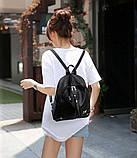 Рюкзак жіночий міський для дівчаток, дівчат з метеликами (чорний), фото 2