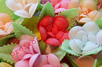 Вафельные цветы Фиалка с листиками, 10шт