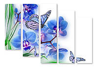 Модульная картина голубые орхидеи и бабочки