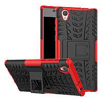 Чехол накладка противоударный TPU Hybrid Shell для Sony Xperia L1 красный