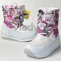 Детские зимние дутики на зиму для девочки сапоги белые 30р. Tom.M
