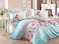 Комплект постельного белья  Hobby поплин размер евро Fiesta голубой