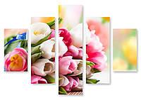 Модульная картина разноцветные тюльпаны