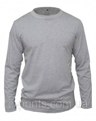 Мужская футболка с длинным рукавом серая