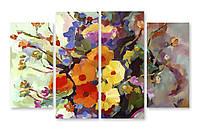 Модульная картина цветы красками
