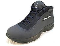 Ботинки с мехом Jordan кожаные синие унисекс (р.35,36,37)