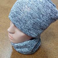 Комплект утеплённый шапка и снуд на девочку 52-54 размер., фото 1
