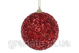 Набор ёлочных шаров цвет: красный, покрытие лёд 10см (12шт)